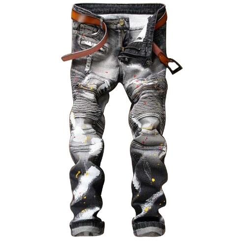 1539 Motorcycle Patchwork Hip hop jeans men Punk pants Designer jeans men high quality Skinny