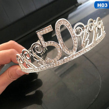 1Pcs 30,40,50 year old Letter Rhinestone Crown Adult Birthday Cake Decor Cupcake Anniversary DIY Party Decoration Party Supplies