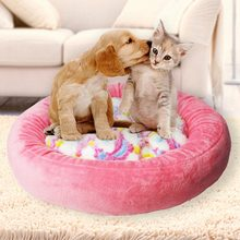 Round Dog Bed Mats Winter Warming Washable Cat's House Breathable Lounger Sofa For Small Medium Dogs Super Soft Plush Pet Pads(China)