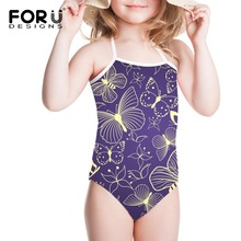 Summer Cute One Piece Butterfly Sport Swimsuit Girls Swimwear Kids Princess String Animal Cartoon Ever After High Beach Wear 1T