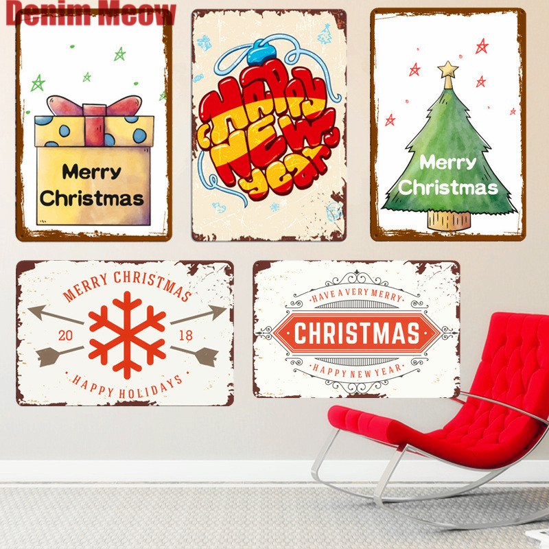 Happy New Year Plaque Vintage Metal Plates Home Bar Decoration Plates Xmas Tree Wall Stickers Painting Farmhouse Decor Sign N244 image
