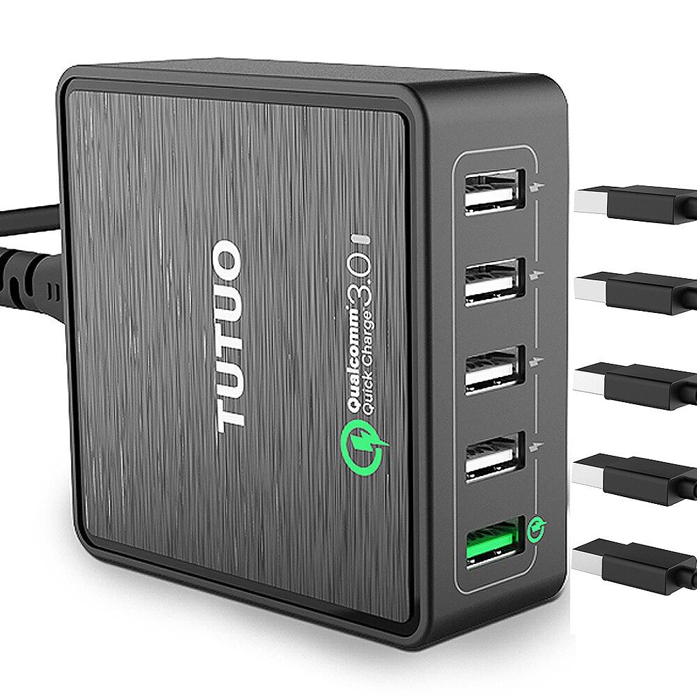 TUTUO QC-025P Rápida USB Cargador de Carga Rápida 3.0 40 W Viajes Escritorio par