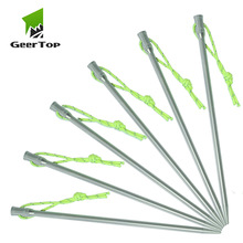 GeerTop Heavy Duty Titanium Tent Peg Stakes Hard Ground Stable Replacement Nail Camping Gear for Backpacking Hiking Outdoor