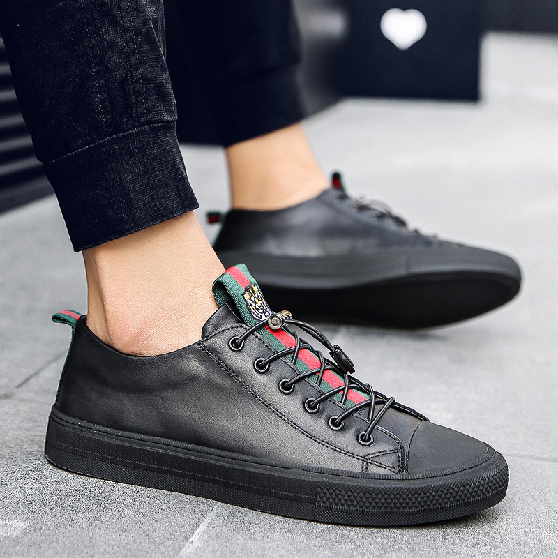 fba7c01a6b64 Aliexpress.com   Buy Mens Casual Shoes Hot Sale Leather Black White Platform  Shoes Men Elastic Band Cheap Shoes 2018 Male Fashion Sneakers Flats from ...