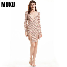 gold sequin glitter women dress long sleeve patchwork vestidos mujer womens  clothing party ladies bodycon fashionable dresses 38fcf331124f