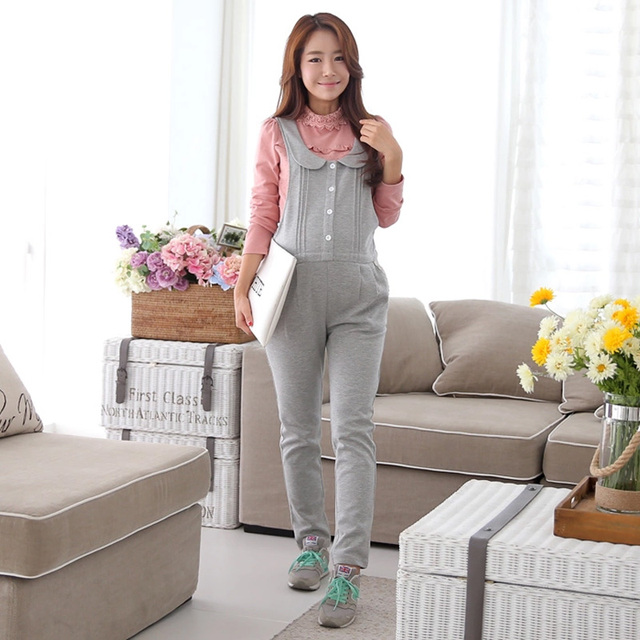 Spring Autumn Cotton Pants for Pregnant Women Elastic Waist Maternity Suspender Trousers Plus Size Overalls Pregnancy Pants