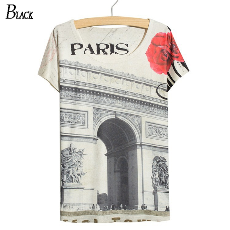 2018 Casual Summer style t-shirt Femme de Triomphe Tees Vintage Newspapers Print t shirt women tops batwing short sleeve white