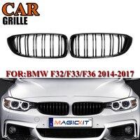 MagicKit Pair Front Car Hood Gloss Black Kidney Sport Grills Grille For BMW F32 F33 F36 M4 F80 F82 4 Series 2014 2015 2016