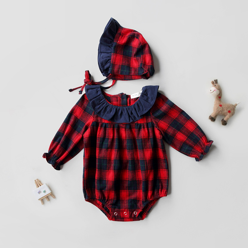 My first christmas girl set long sleeve romper +cap baby sets plaid cotton baby christmas outfits
