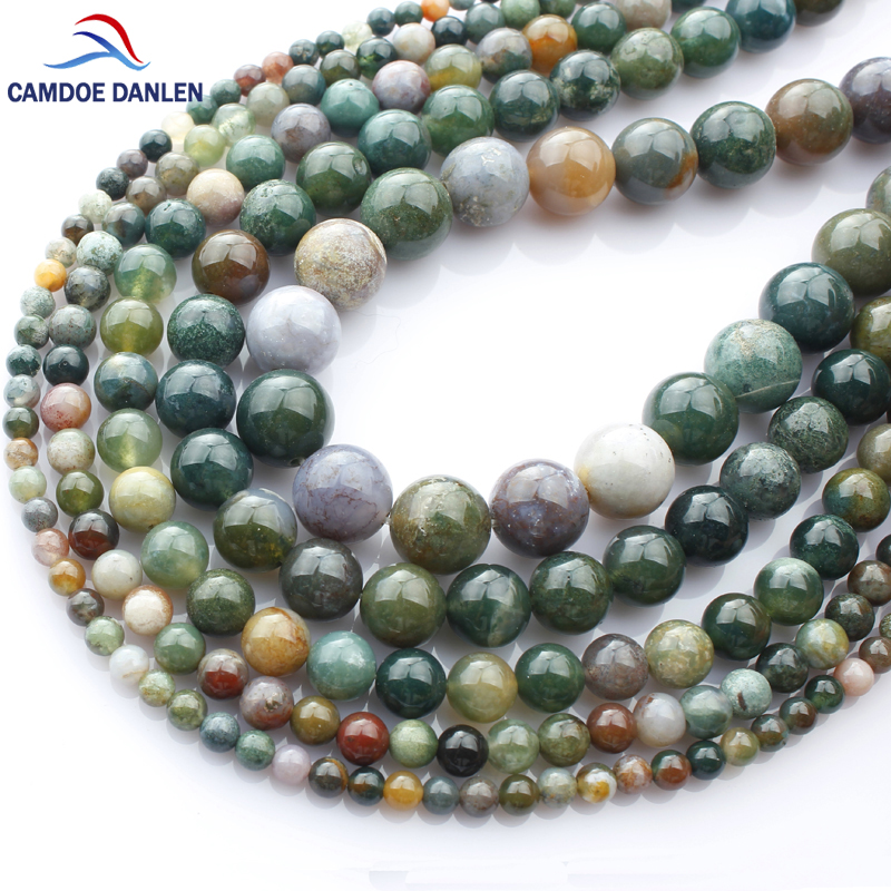 CAMDOE DANLEN Natural Stone Indian Agates Round Beads 4 6 8 10 12 14 MM Diy Woman Man Necklace Bracelet Beads For Jewelry Making