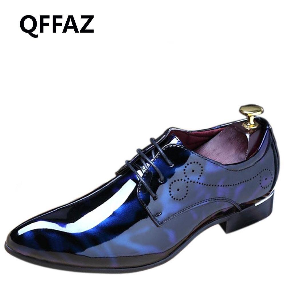 Mode Oxford Cuir 3848 Hommes Taille red En Marié Grande Nouveaux Qffaz Ombre 2018 Mariage Blue gray Chaussures S'habillent Verni De Luxe 6gybf7