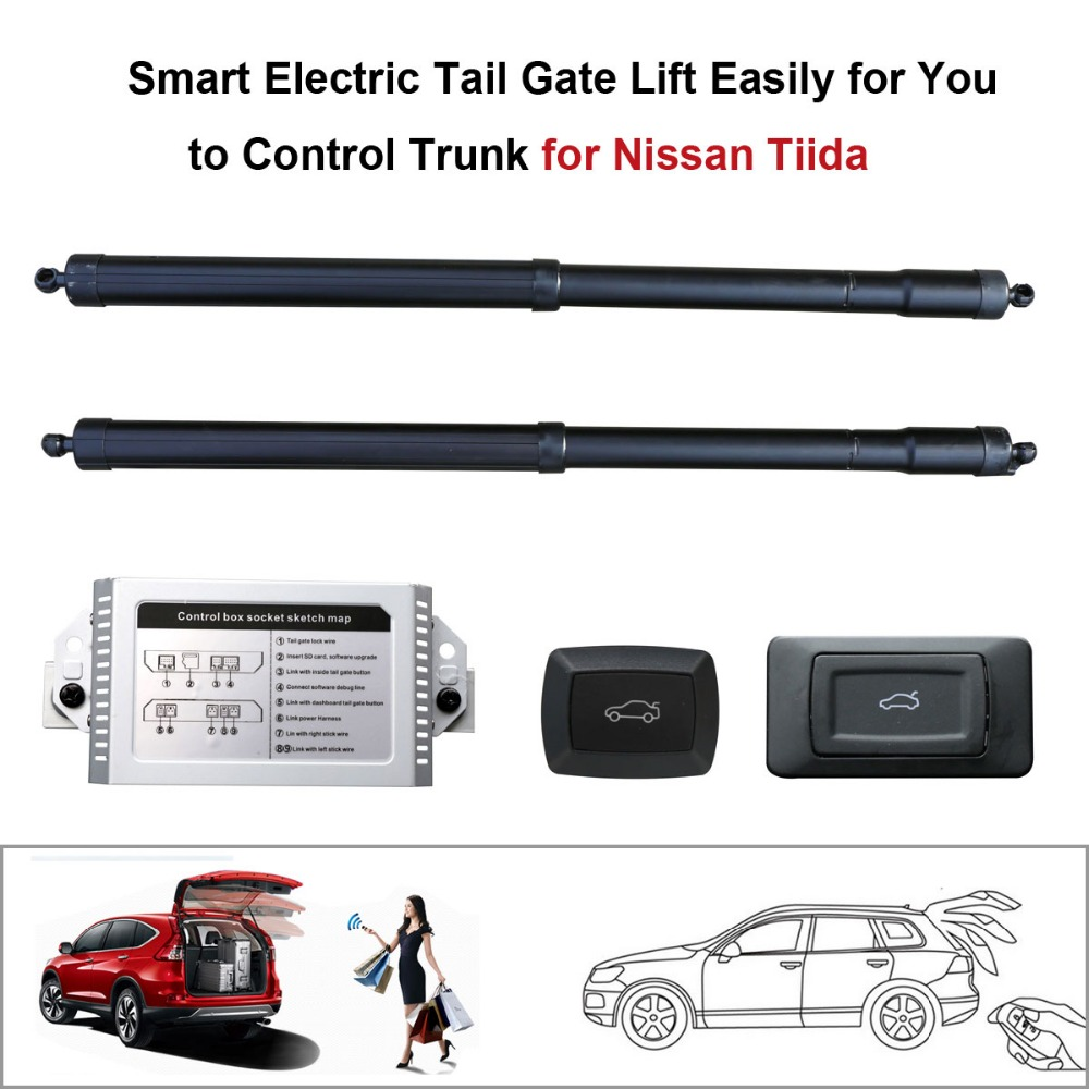 Smart Auto Electric Tail Gate Lift for Nissan Tiida Control by Remote Drive Seat Tail Gate Button Set Height Avoid Pinch