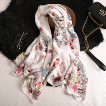 Luxury Long Silk Scarf for Women Floral Print Pashmina Lady Foulard Hijab Muslim Summer Beach Scarves Headband