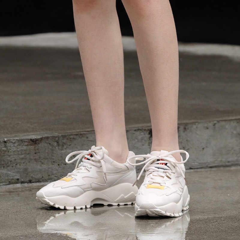 MORAZORA 2019 de gran tamaño 42 zapatillas de deporte de mujer de malla transpirable zapatos casuales de mujer de encaje zapatos de plataforma de Primavera Verano mujer adulta