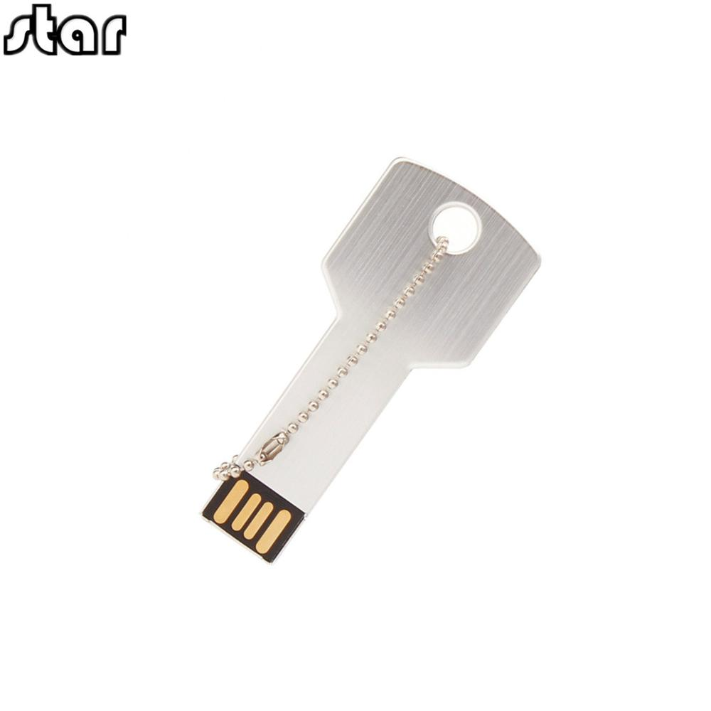 Metal Key USB Flash Drive 64GB Real Capacity Pendrive 32GB U Disk 2.0 128GB 16GB 8GB 4GB Pen Drive Memoria Usb Free Custom Logo
