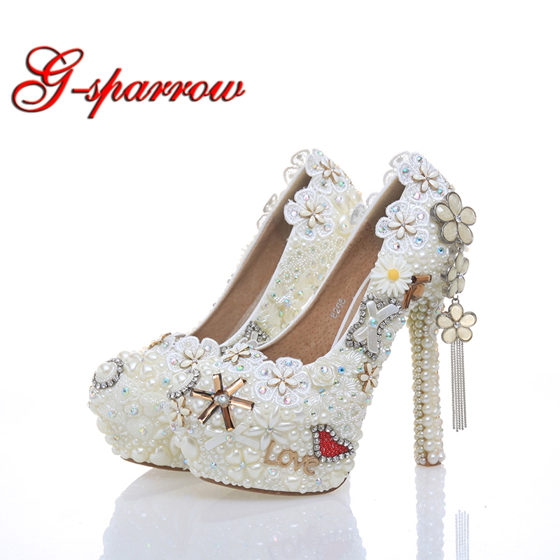 2018 Classic Wedding Dress Shoes White Pearl Bride Shoes Party High Heels 5 Inches Heel Top Grade Leather Pumps Rhinestone