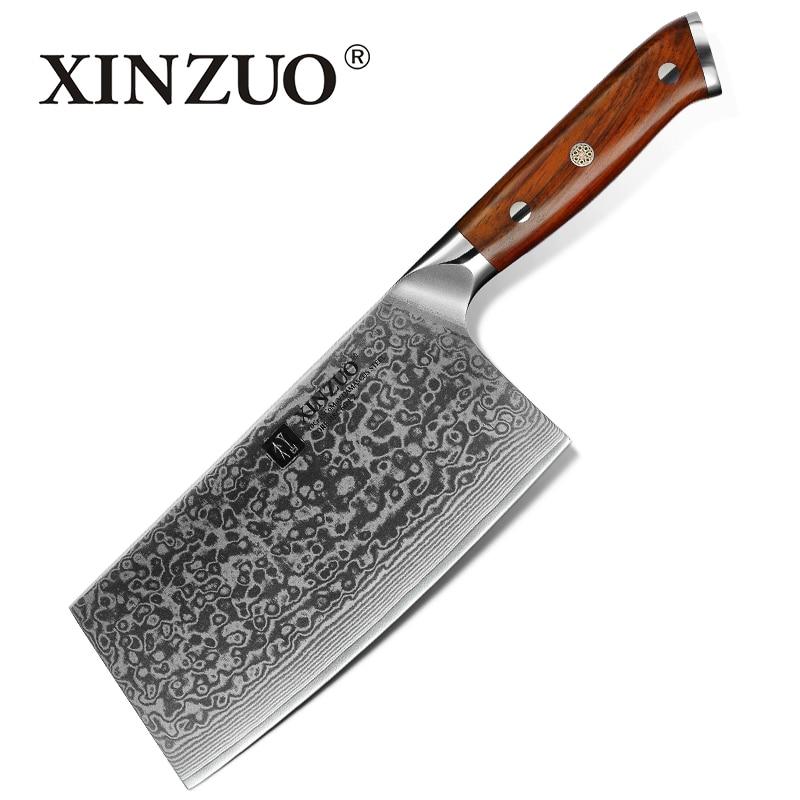 "Xinzuo 6.5 ""inch Vleesmes Damascus Staal Keukenmessen Hoge Kwaliteit Japanse Staal Cleaver Chef Messen Palissander Handvat Materialen Van Hoge Kwaliteit"