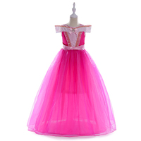 Summer Flower Bow Dress For Girl Princess With Beading Gown Kids Baby Dress Cloth Pageant Party