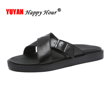 2019 Ins Sandals Men Genuine Leather Summer Shoes Men Slippers Non-slip Casual Male Beach Sandals Flat Male Slippers Black A1241