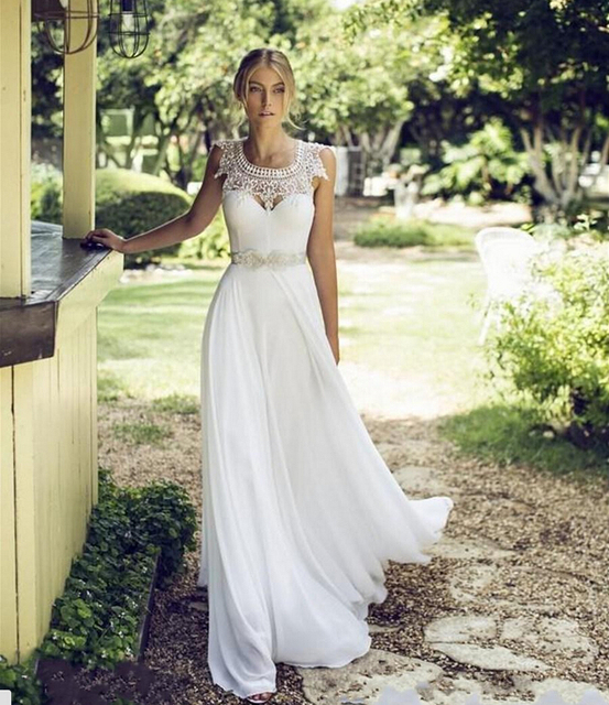 Spring Garden Wedding Dresses With Top Lace Appliques Pearls Beads ...