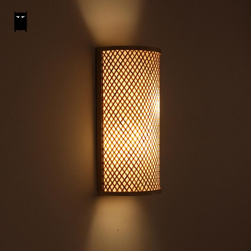 Bamboo Wicker Rattan Shade Tunnel Wall Lamp Fixture Rustic