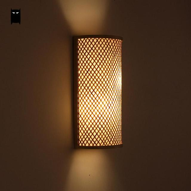 Bamboo Wicker Rattan Shade Tunnel Wall Lamp Fixture Rustic