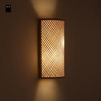 Bamboo Wicker Rattan Shade Tunnel Wall Lamp Fixture Rustic Asian Japanese Korean Sconce Light Luminaria Bedroom Bedside Hallway