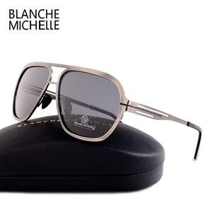 Image 3 - Blanche Michelle 2019 Yüksek Kalite Paslanmaz Çelik Polarize güneş gözlüğü Erkekler UV400 Kare güneş gözlüğü lunette soleil homme