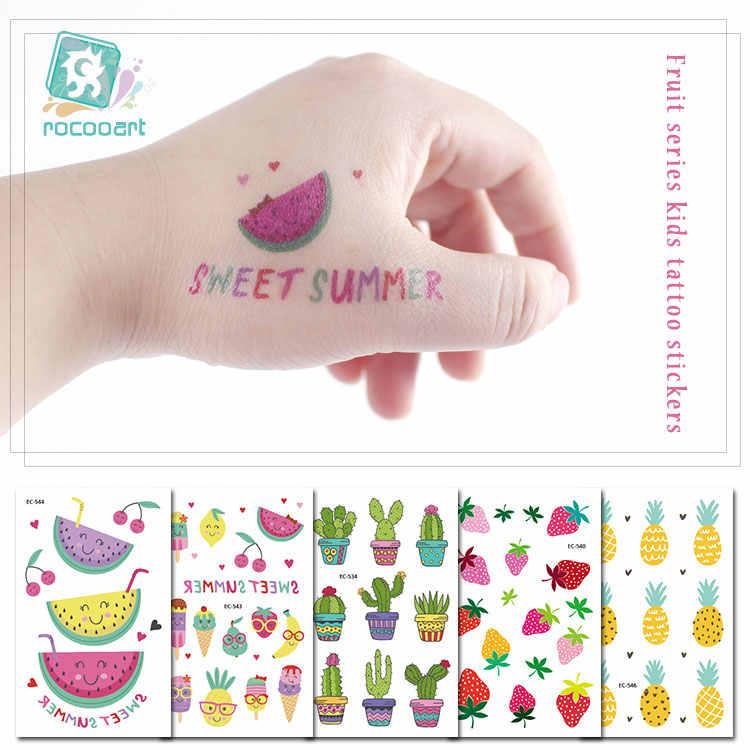 Tatuaje de Fruta de dibujos animados Rocooart para chico, tatuaje falso bonito para niños, tatuaje temporal, arte corporal a prueba de agua, tatuaje temporal