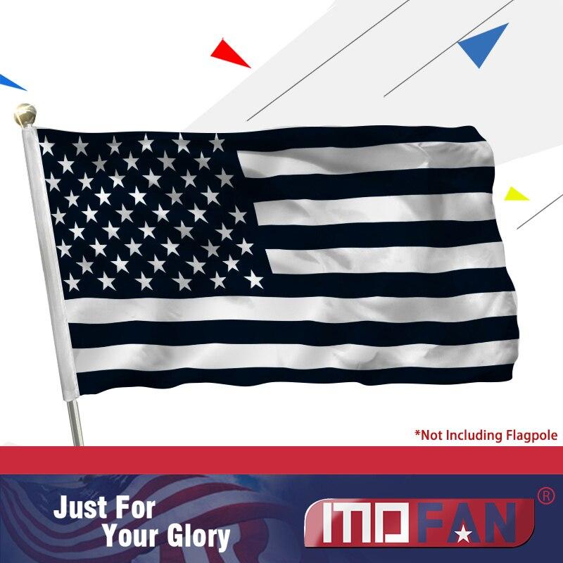 MOFAN Černobílé záhlaví US-Canvas Header a Double Stitched-Recession USA Flag Polyester with Mosaz Grommets 3x5ft