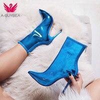 A-BUYBEA новые женские ПВХ ботильоны горячая Распродажа прозрачные женские сапоги обувь на очень высоком каблуке тонкий каблук женские сапоги ...