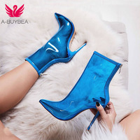 A BUYBEA New Women PVC ankle Boots Hot Sale Transparent Women Boots Clearheels Shoes Super high heels Thin heel zip women boots