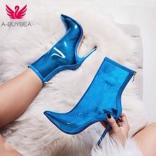 A-BUYBEA New Women PVC ankle Boots Hot Sale Transparent