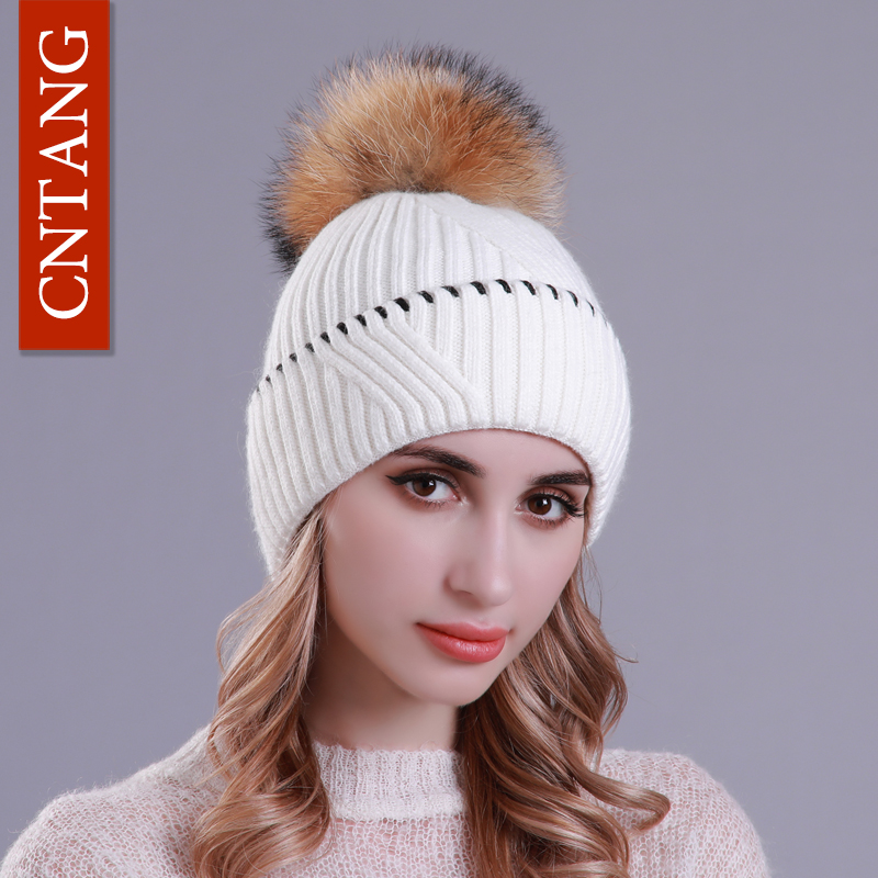 CNTANG Winter Wool Women Hats Warm Knitted Cap With Real Raccoon Fur Pompom Caps   Skullies     Beanies   Fashion Hat For Female 2018