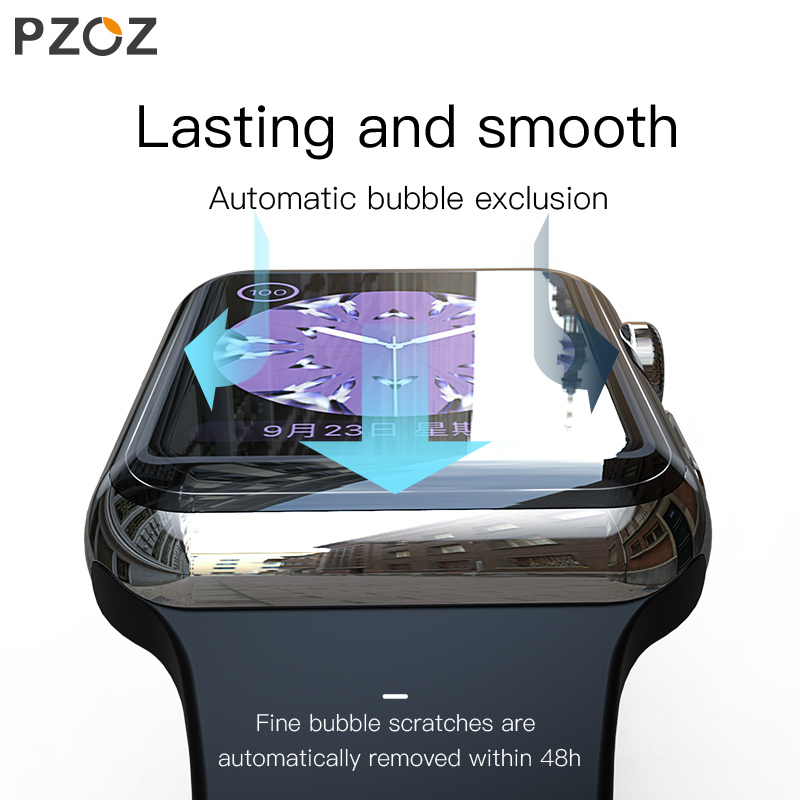 Image 2 - PZOZ For iWatch 4 3 Hydrogel Film Full Screen Protector Glass For Apple Watch 1 2 3 4 Tempered Film HD Curve Edge Glass 38/42mm-in Smart Accessories from Consumer Electronics
