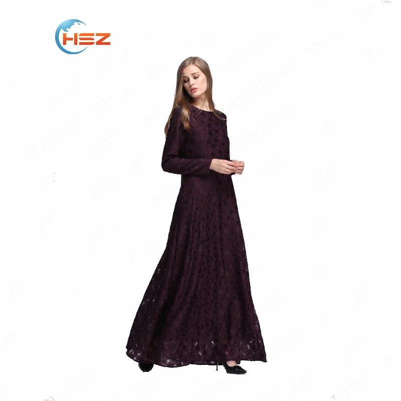 229681f2646 Hot fashion lace plus size dress turkish women clothing black abaya robe Muslim  women dress evening clothing dubai abaya 3 color-in Islamic Clothing from  ...
