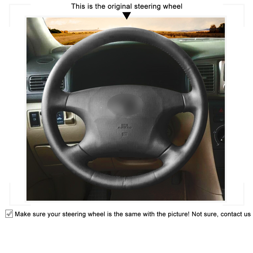 MEWANT Black Artificial Leather Car Steering Wheel Cover for Old Toyota Corolla Avalon Mark 2