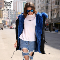 AORRYVLA New Natural Rabbit Fur Parka For Women Winter Long Colors Raccoon Fur Collar Hooded Coat