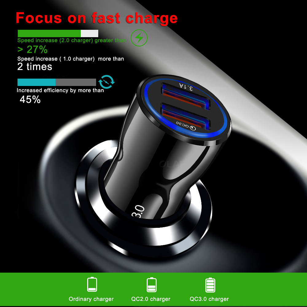 Car Charger 2 USB Smart Port Charger Quick Charge 3 0 2 0 Compatible for iPhone X 8 7 6S 6 Plus 5 SE 5S 5 5CGalaxy S9 S8 S7 S6 in Car Chargers from Cellphones Telecommunications