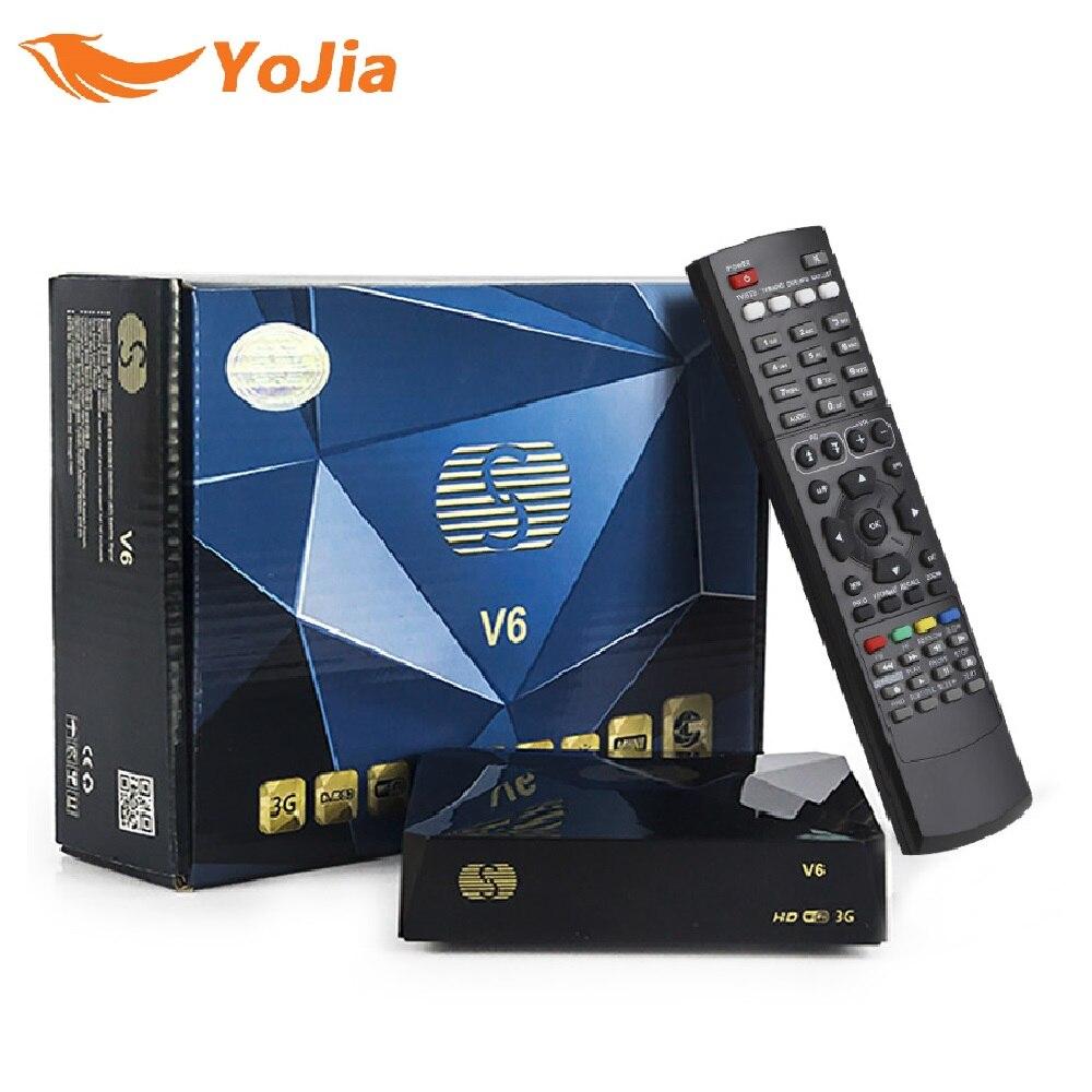 S-V6 DVB-S2 receptor de satélite digital com 2 porta usb suporte xtream tv nova roda tv web tv youtube usb wifi biss chave