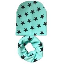 Новая хлопковая шапка со звездой+ шарф, комплекты для малышей до 3 лет, Детские воротники с героями мультфильмов, колпачки костюмы, Детские шапочки для мальчиков и девочек, аксессуары