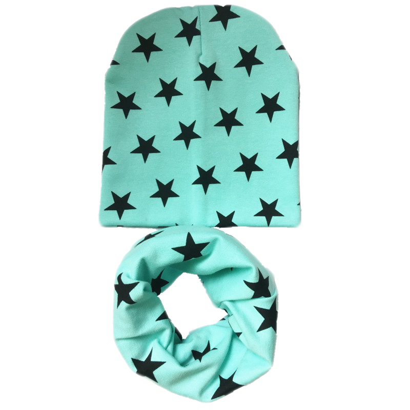 New Cotton Star Hat+scarf Sets For Baby Under 3 Years Kids Cartoon Collars Caps Suits Children Boys Girls Beanies Accessories