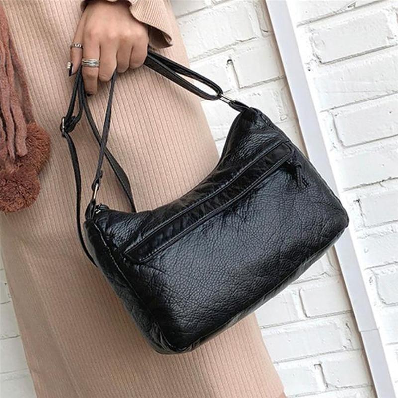 Women\'S Small Crossbody Leather Handbag Ladies Shoulder Messenger Ladies Bag Washed Leather Bag