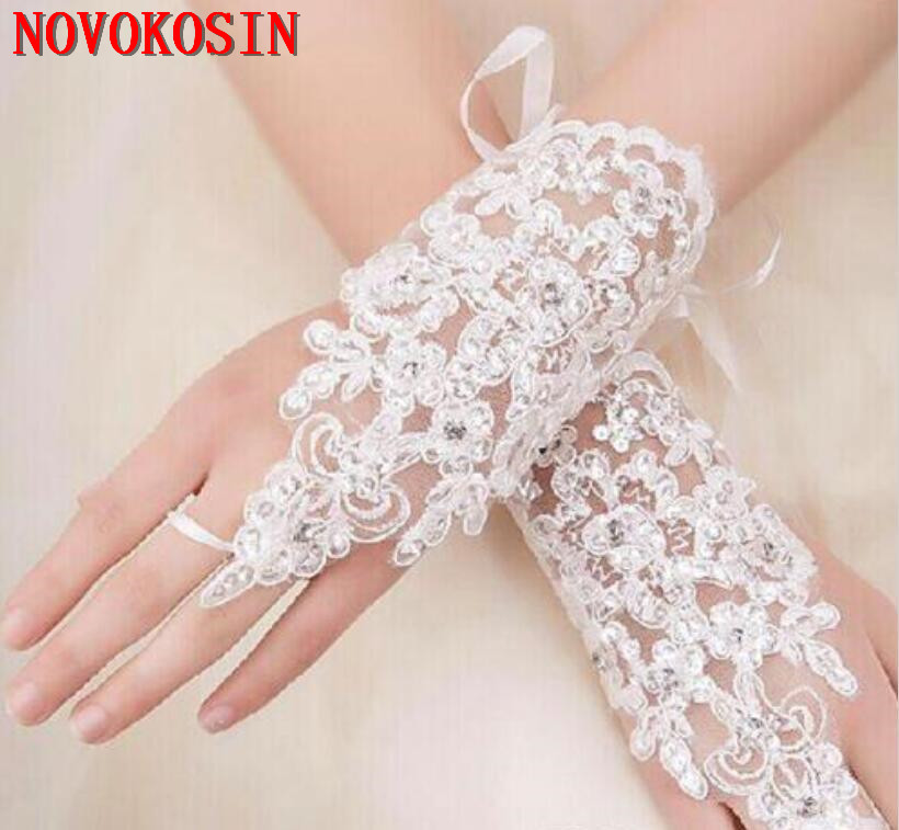 2019 Fingerless Bridal Gloves, Wedding Wrist Length gloves, Embroidered Beading wedding Accessories