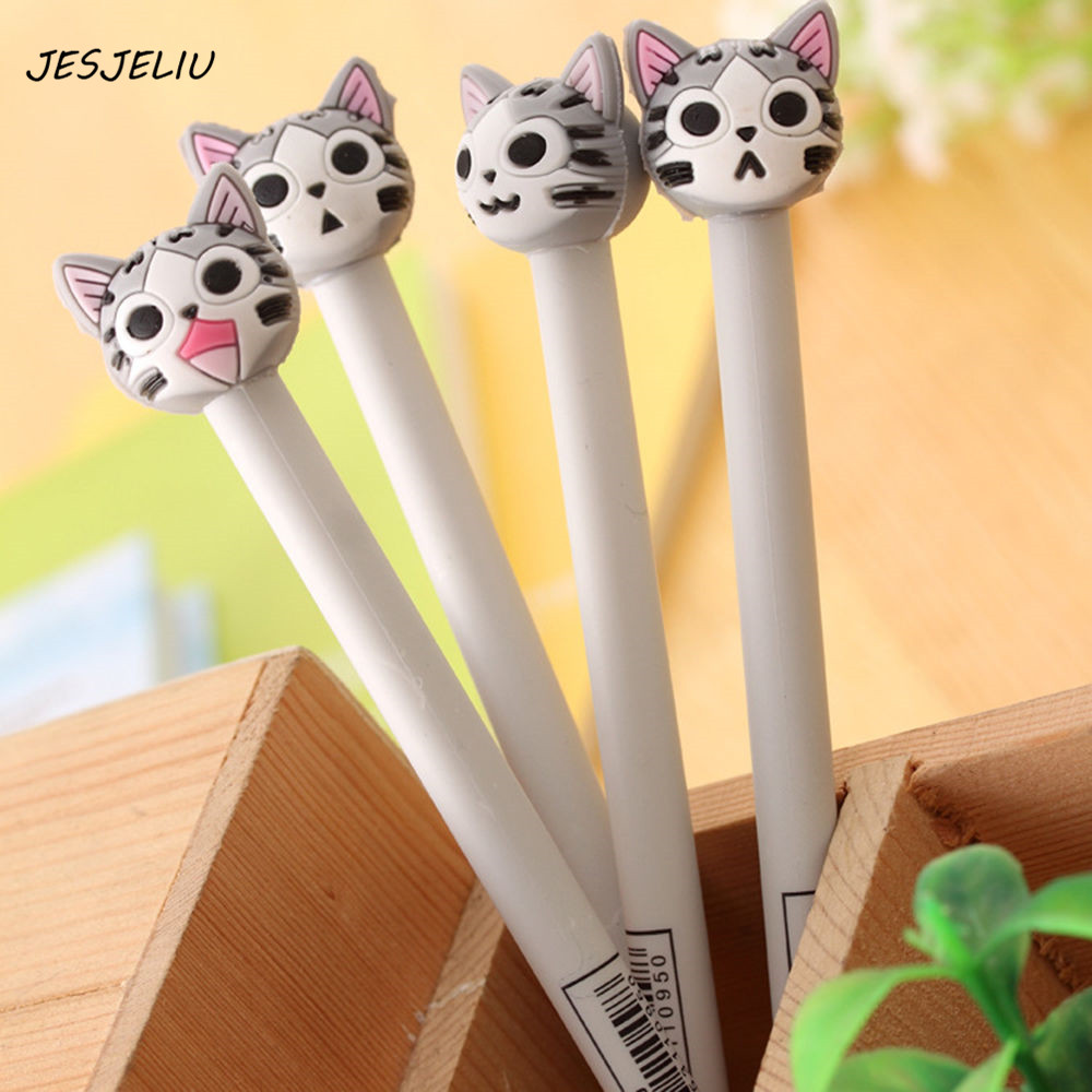cartoon cat gel pen kawaii stationery pens canetas material escolar office school supplies papelaria kawaii cartoon cat erasable pen cute dog gel pens for kids writing gift office school supplies free shipping 3931