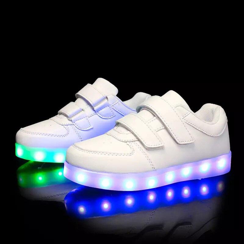BABAYA En Cuir Souple Enfants Chaussures Légères USB Charge Garçons Lumineux Chaussures Filles Baskets Lumineuses Enfants Chaussures 1166