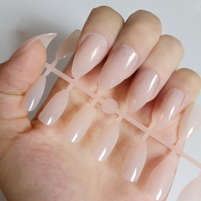 Natural Stiletto Nails Shiny Acrylic False Full Cover Fake Nail Tip Diy Art Manicure