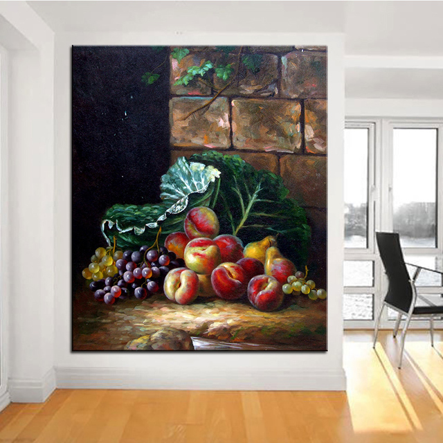 Red fruit basket original still life oil painting canvas prints wall art pictures for living room