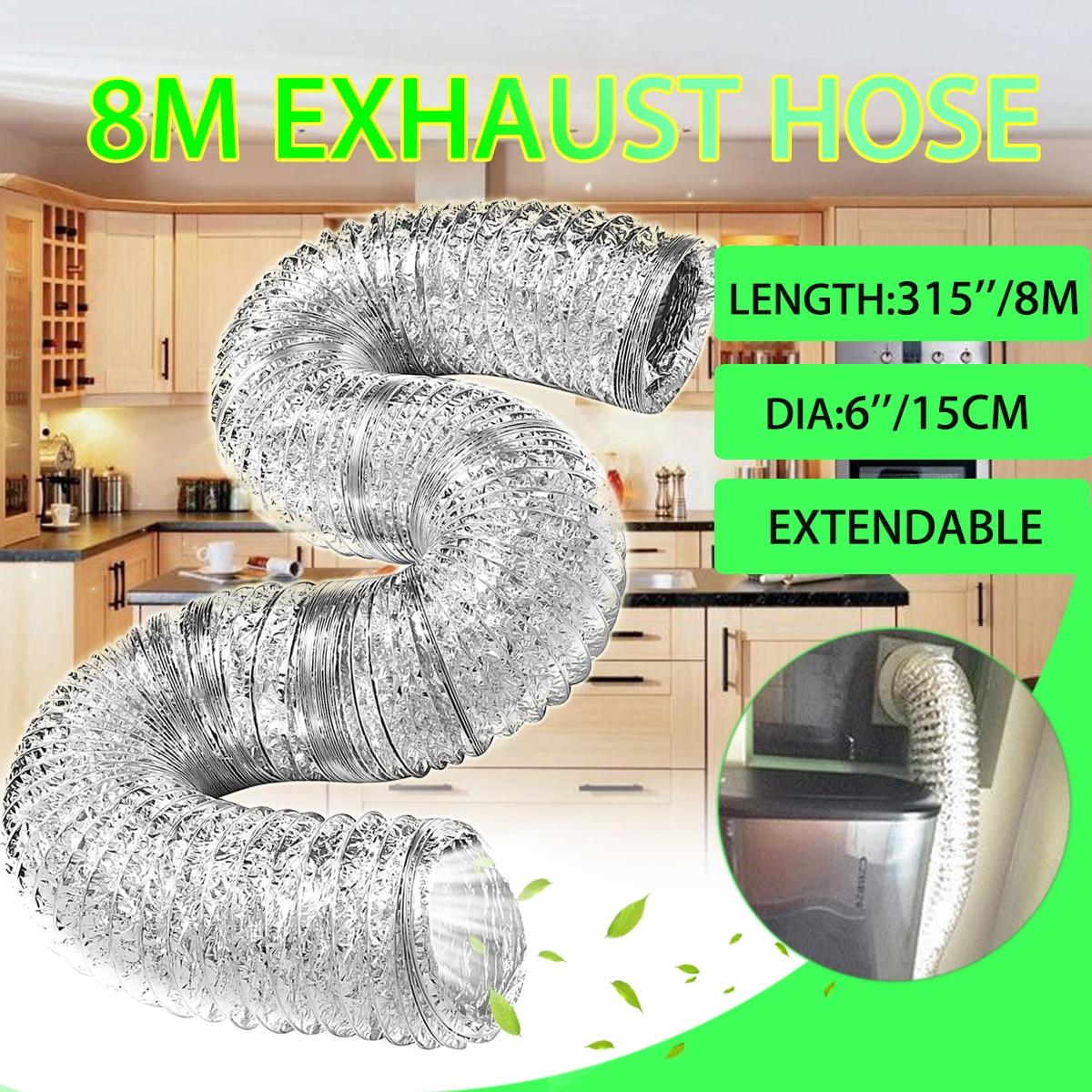 8M Flexible Exhaust Hose Tube Mobile Air Conditioner Window Vent Pipe 15cm Dia8M Flexible Exhaust Hose Tube Mobile Air Conditioner Window Vent Pipe 15cm Dia