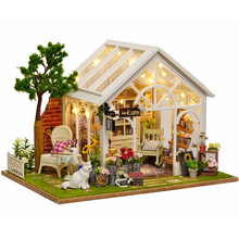 Assemble DIY Wooden House Miniaturas with Furniture DIY Miniature House Dollhouse Toys for Children Christmas and Birthday A063